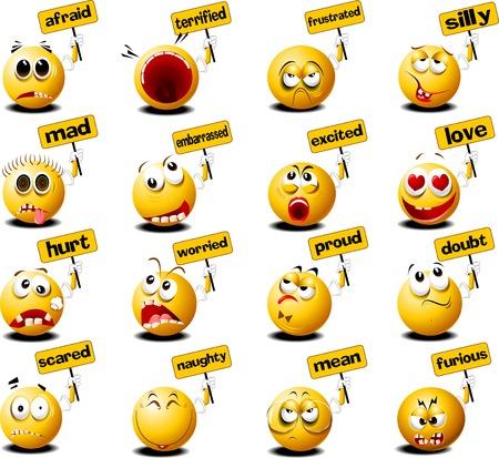 relaciones humanas: bolas amarillas con pancartas en sus manos, vector e ilustración