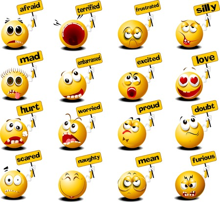 laughter: yellow balls with placards in their hands, vector and illustration
