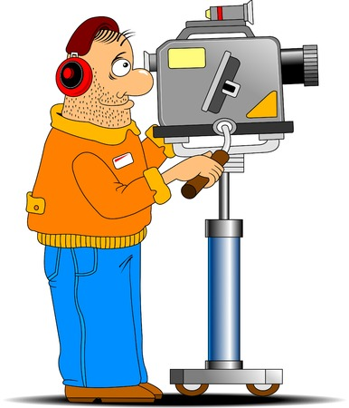 cameraman: fun cameraman shoots in red headphones TV report