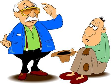 hombre pobre: mendigo en pantalones holey pide monedas, vector Vectores