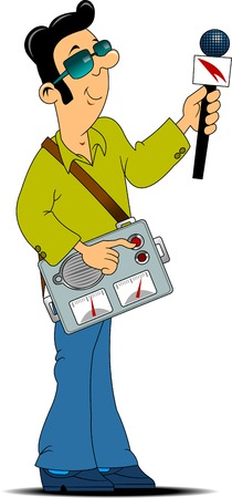 anchorman: radio journalist with a big tape recorder and microphone interviews;