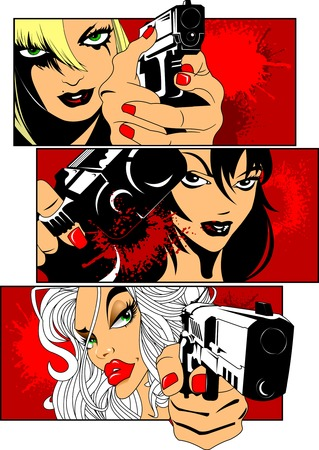women with guns: three beautiful woman with big black gun, vector Illustration