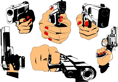 hand gun: collection of images of hands with gun, vector and illustration Illustration