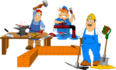 iron fun: working with a shovel and a pick on a white background, vector