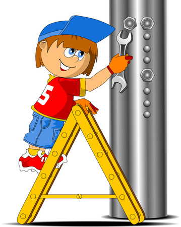 young worker: Young worker tightening the screws, vector