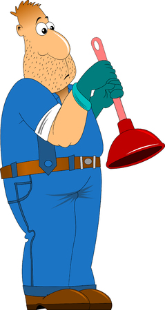 sympathetic: Sympathetic plumber; wearing a plunger, he will dress in work clothes