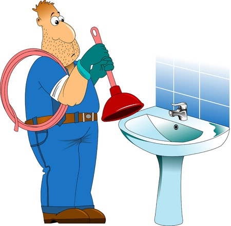 sympathetic: Sympathetic plumber, wearing a plunger, he will dress in work clothes Illustration