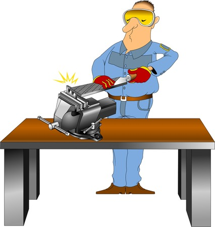 vice grip: worker in blue overalls with a large a file