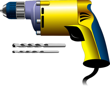 perforate: Illustration of a drill isolated on white background, vector illustration