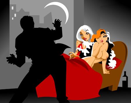Jong koppel betrapt tijdens het vrijen in bed, vector Stock Illustratie
