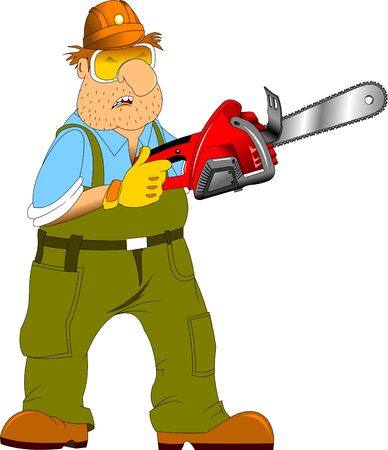 auger: Working in a green jumpsuit with an electric saw in the hands of Illustration