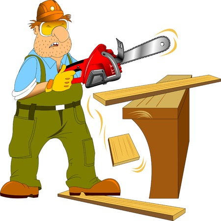 warning saw: Working in a green jumpsuit with an electric saw in the hands of Illustration