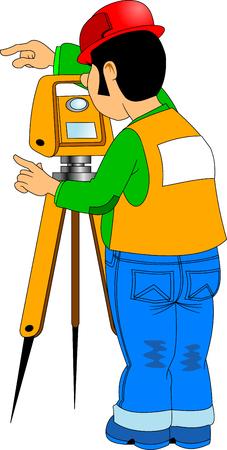 teodolito: Ingeniero topógrafo mide la carretera con un teodolito, vector Vectores