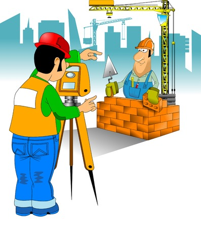 builder: construction worker in blue jumpsuit and yellow helmet, vector and illustration
