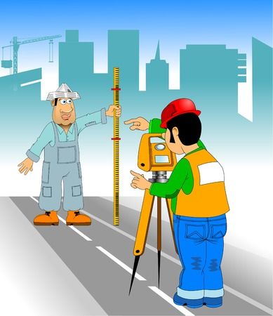 Engineer surveyor measures the road with a theodolite, vector