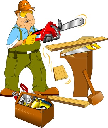 straighten: Working in a green jumpsuit with an electric saw in the hands of Illustration