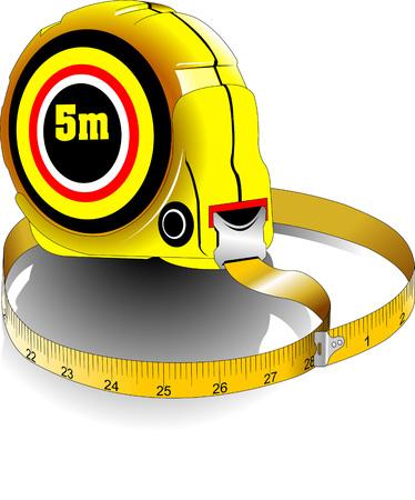 cintas metricas: amarillo cinta métrica sobre un fondo blanco, vector