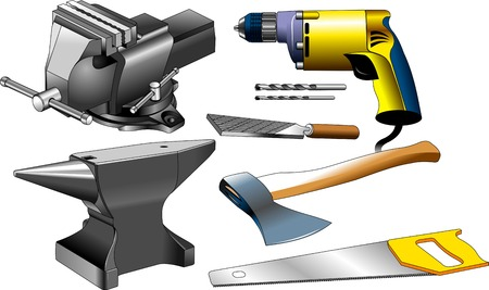 vices: set of tools for various construction and repair works Illustration