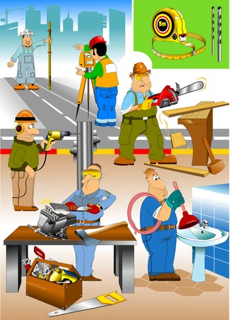 group of workers doing repairs in the house, vector
