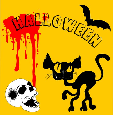 halloween black cat: Invitation to a Halloween black cat on the cover Illustration