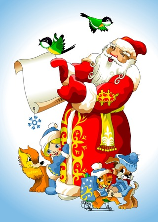 klaus: illustration for Christmas and New Year. Santa Claus. Bag with gifts. Vector Illustration