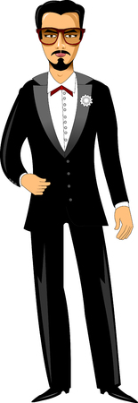 lapel: young groom in black tuxedo and white rose on the lapel