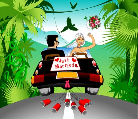 cabrio: honeymoon on a black car on a beautiful forest, vector Illustration