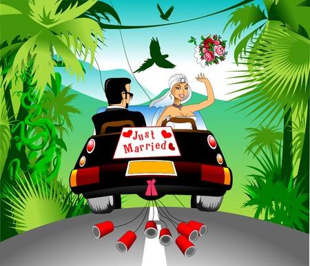 honeymoon on a black car on a beautiful forest, vector Illustration
