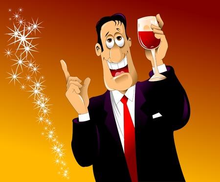 estereotipo: hombre alegre con un vaso de vino de un discurso, vector