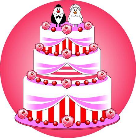 oiseau dessin: gâteau de mariage décoré avec des roses; cerises et crème blanche Illustration