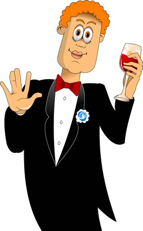 stereotype: friend of the groom in a black coat with a glass of red wine
