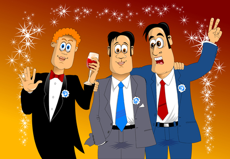 stereotype: three friends in blue costumes at the holiday party, vector