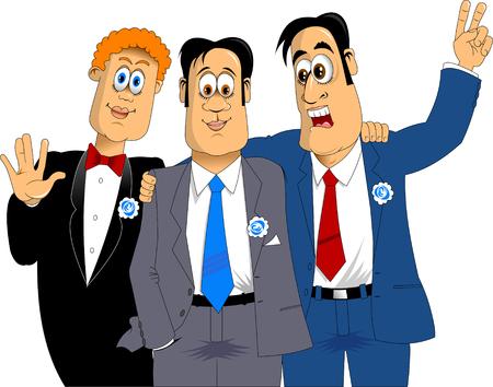 estereotipo: tres amigos en trajes de color azul en la celebración de días festivos, vector