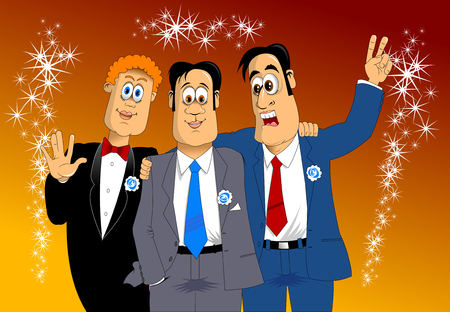three friends: three friends in blue costumes at the holiday party, vector