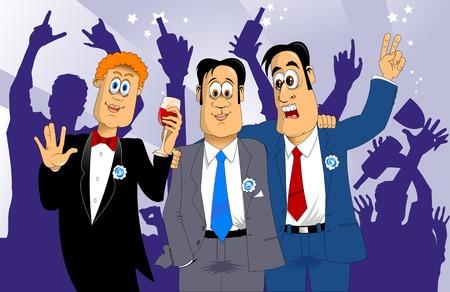 estereotipo: tres amigos en trajes de color azul en la celebraci�n de d�as festivos, vector
