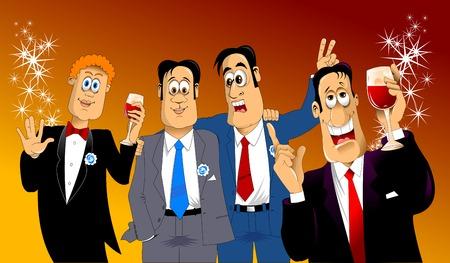 quattro amici in costume blu al partito di festa, vettore