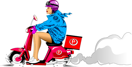 pretty blonde girl: beautiful girl in a blue cloak on a motor scooter