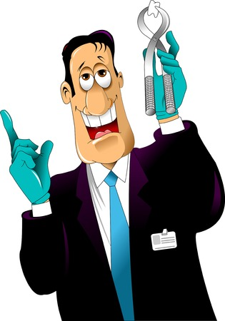 doctors and patient: Dentist shows a tooth pulled, vector and illustration Illustration