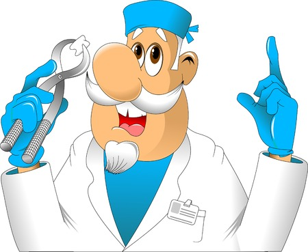 hospital patient: Dentist shows a tooth pulled, vector and illustration Illustration