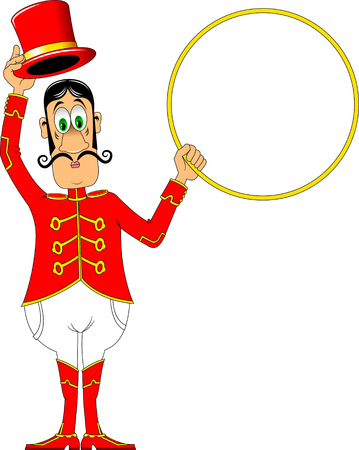 spectacle: tamer in a red uniform and with a hoop at the circus Illustration