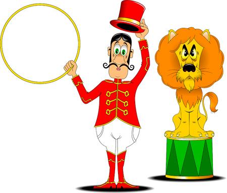 tammer in een rood uniform en met een hoepel in het circus Stock Illustratie
