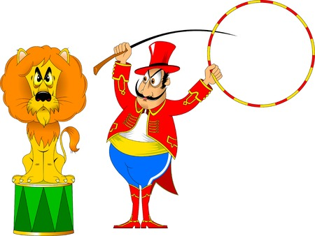 taming: tamer in a red uniform and with a hoop at the circus Illustration