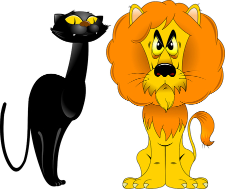 cute animal cartoon: red lion and black panther sitting next, vector