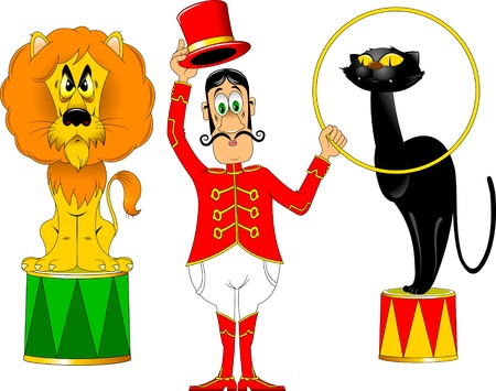 tamer in a red uniform and with a hoop at the circus;
