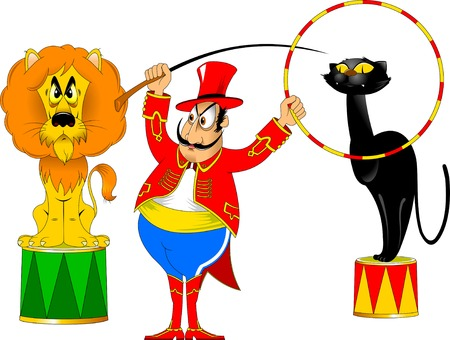 cartoon circus: tamer in a red uniform and with a hoop at the circus Illustration