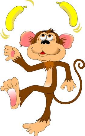 albero da frutto: scimmia divertente giocoleria due banane gialle, vettore