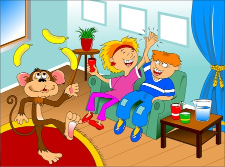 cartoon circus: funny monkey juggling two yellow bananas, vector