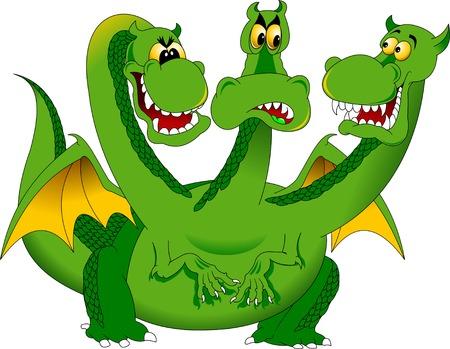 three-headed green dragon talking to himself, vector
