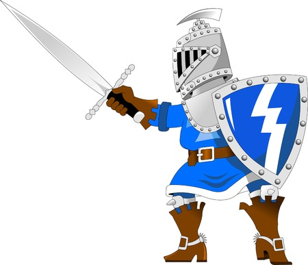 halberd: Fighting knights with swords shield helmet army uniform, vector illustration cartoon; Illustration