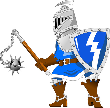 militant: Fighting knights with swords shield helmet army uniform; vector illustration